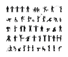 People Pictogram In Various Po...