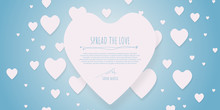 Pink Blue Chocolate Love Heart Shape For Valentine Day. Happy Day In February. Rain Love. Spread The Love. Greeting Card For Girl, Lady, And Woman