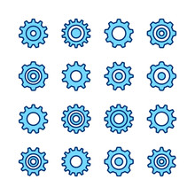 Gear Icons. Cogwheels And Cogs Collection. Simple Modern Flat Line Design. Outline Symbols. Vector Icons Set