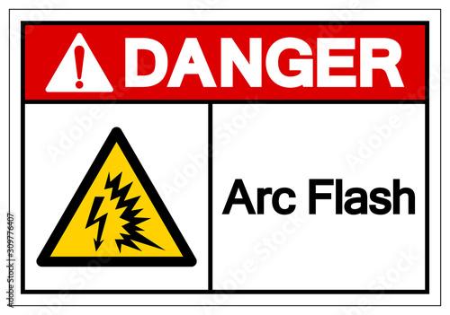 Danger Arc Flash Symbol Sign, Vector Illustration, Isolate On White Background Label Wallpaper Mural