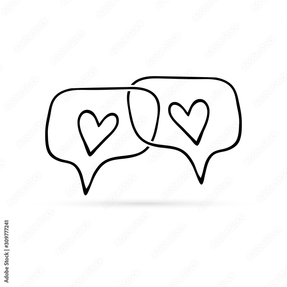 Doodle chat icon with heart. Kids hand drwing art line. Speech symbol for web site design, logo, app, UI. Outline vector illustration <span>plik: #309777241 | autor: Iryna</span>