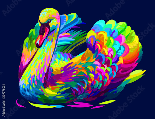 The swan is swimming Fototapete