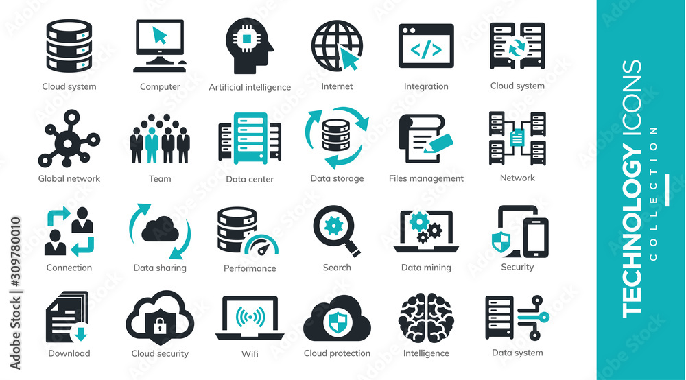 Fototapeta Servers and Technology Icons