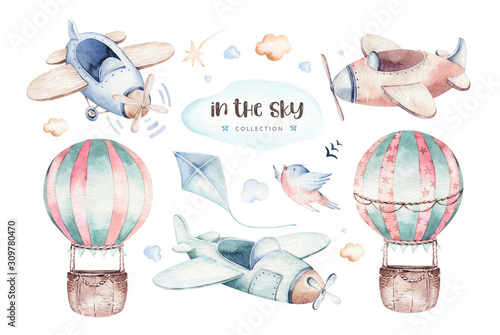 Watercolor set baby cartoon cute pilot aviation background illustration of fancy sky transport complete with airplanes balloons, clouds Wallpaper Mural