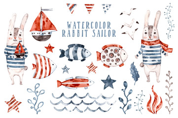 Watercolor rabbit nursery sailor, cartoon seaman animal set. Hand painted Cute childish character collection, aquarelle illustration, compilation with marine elements, seagull , wave, fish
