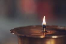 Close Up Of Oil Lamp In The Te...