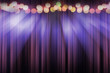 canvas print picture - blurred theater stage with purple curtains and spotlights, abstract image of concert lighting