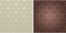 Background Patterns.  Colors: Silver,  Brown, Gray. Background Image In Retro Style. Floral Pattern, Wallpaper Texture. Vector Image, Vintage