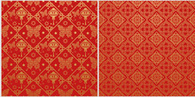 Red Background. Chinese New Year. Set Of 2 Templates For Your Design. Colors In The Picture: Red, Gold. Chinese Japanese Style. Vector Illustration.