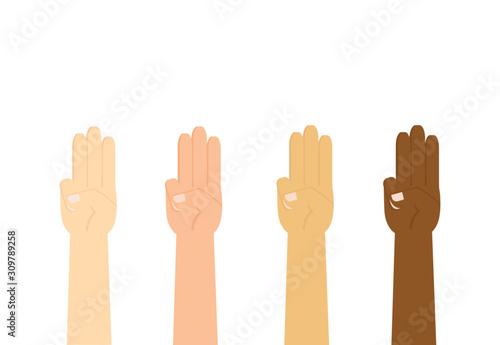 Fotografie, Tablou Vector illustration of hands gesturing a three finger like a symbolic for someth