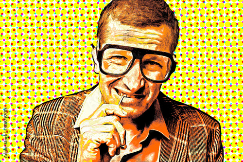 Retro pop art poster, a man in large glasses and a jacket holds a toothpick in his mouth with his hand.