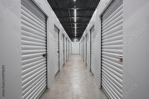 Fototapeta Self storage facility, metal doors with locks. Moving, storage concept. obraz
