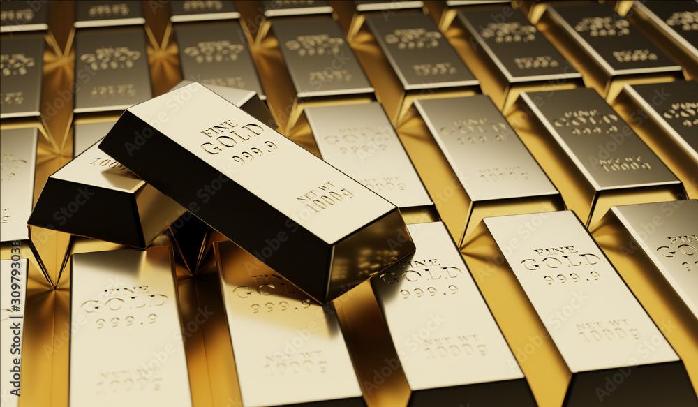 Fototapeta Gold bullion concept about gold value, success and financial.3D render