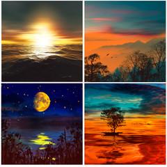 3D illustration. Set of colorful artistic wildlife landscape.