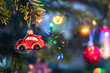 canvas print picture - christmas decoration on tree. Red car bauble