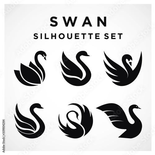 Fotografie, Obraz Swan Set logo Template vector illustration design