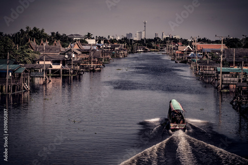 boat for travel in canal,Bangkok Thailand Fototapete