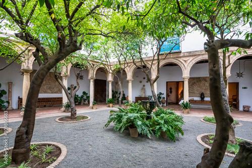 Courtyard garden of Viana Palace in Cordoba, Andalusia, Spain.