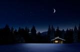 Weihnachtlich beleuchtete Hütte in Kalter Winternacht mit Sternenhimmel