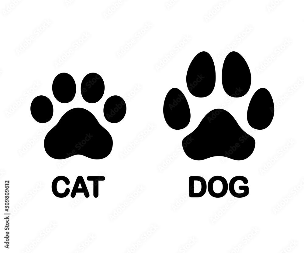 Fototapeta Dog and cat paw print