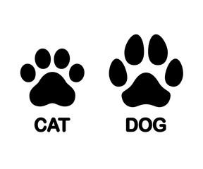 FototapetaDog and cat paw print