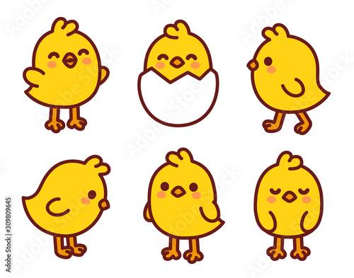 Fotografija Cute cartoon baby chicken set