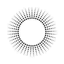 Halftone Effect Vector Pattern. Black Abstract Round Frame, Halftone Dots, Logo, Emblem, Design Element. Circle Dots Isolated On The White Background.