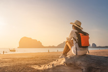 Happy Traveler Woman Joy Relaxing On Summer Vacation At Sunset Pak Meng Beach, Leisure Outdoor Lifestyle Tourist Travel Trang Thailand Fun Beach, Tourism Beautiful Destination Place Asia Holiday Trips