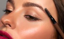 Beautiful Eyes Of Woman With Amazing Make Up. Girl Is Applying Makeup On Eyebrows