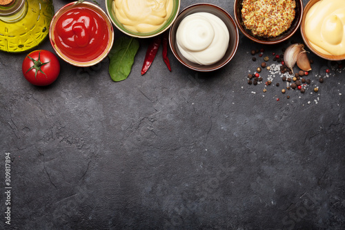 Set of various sauces. Popular sauces in bowls Fototapeta