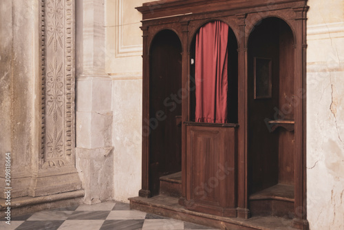 confessional in Catholic church Wallpaper Mural