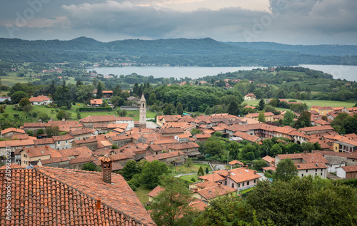 aerial view over Roppolo town and the Viverone lake, Province of Biella, region Wallpaper Mural