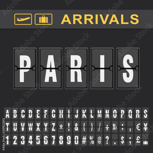 Fotomural  Analog airport flip board displays flight info of arrivals destination in Paris