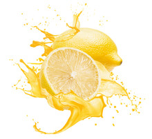 Lemons In Yellow Juice Splash ...