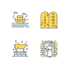 Bible Narratives Color Icons Set. The Passover, The Flood Myths, Ten Commandments. Religious Legends. Christian Religion, Holy Book Scenes. Biblical Stories Plot. Isolated Vector Illustrations
