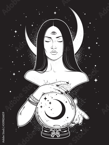 Obraz na plátně Prophetess with third eye reading magic crystal ball with crescent moon line art and dot work