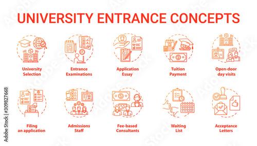 Photo University entrance concept icons set