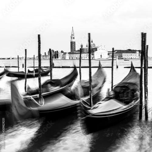 Fototapeta Venice, black and white, high key, Italy, Europe obraz na płótnie