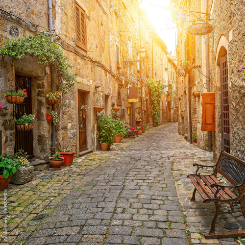 Beautiful alley in Bolsena, Old town, Italy Wallpaper Mural