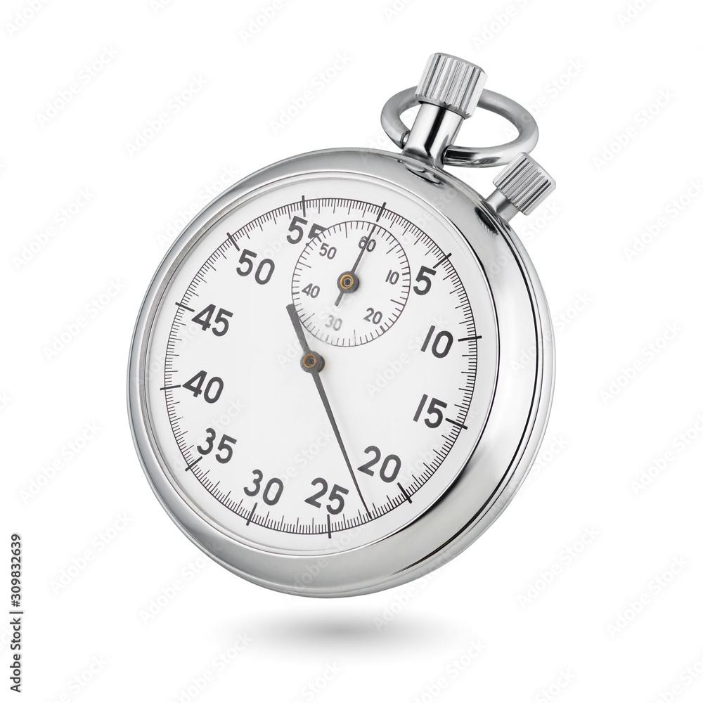 Fototapeta Classic mechanical analog stopwatch isolated on white