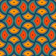 Ethnic Tribal Affrican Seamless Pattern. Ogee Drop Ornament. Repeated Maroccan Scales Mosaic Tiles. Scallop Shapes Motif