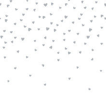 Vector Seamless Boarder Pattern With Little Hearts. Creative Scandinavian Childish Background For Valentine's Day. Monochrome Neutral Hearty Backdrop For Wrapping Paper, Textile, Fabric, Card Making.