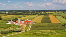 Traditional American Farm, Pennsylvania Countryside From The Air