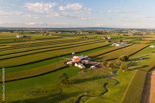 Fototapeta Traditional American farm, Pennsylvania countryside from the air obraz