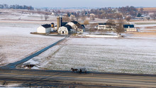 Aerial View Of Farm In Winter,...
