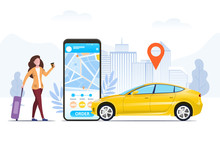 Tourist With A Suitcase Using A Mobile Ride Hailing App To Order A Car From An Urban Location Shown On The Screen Of The Phone, In A Conceptual Vector Illustration