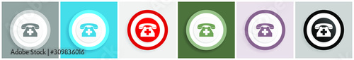 Photo Emergency call icon, phone vector illustrations in 6 colors options for web desi