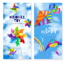 Realistic Kite Wind Mill Toy Banner Set
