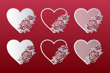 Laser Cut Hearts Set With Patt...