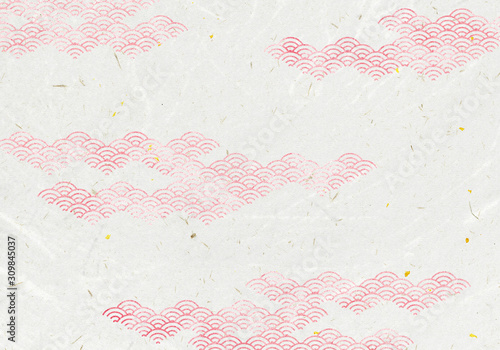 Fototapeta 背景:青海波 波 海 伝統 模様 和風 和柄 図案 壁紙 素材 テクスチャー 赤 レッド